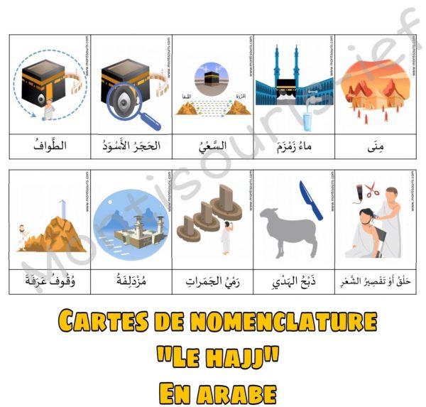 Cartes de nomenclature le hajj en arabe
