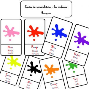 Cartes de nomenclature les couleurs montessori